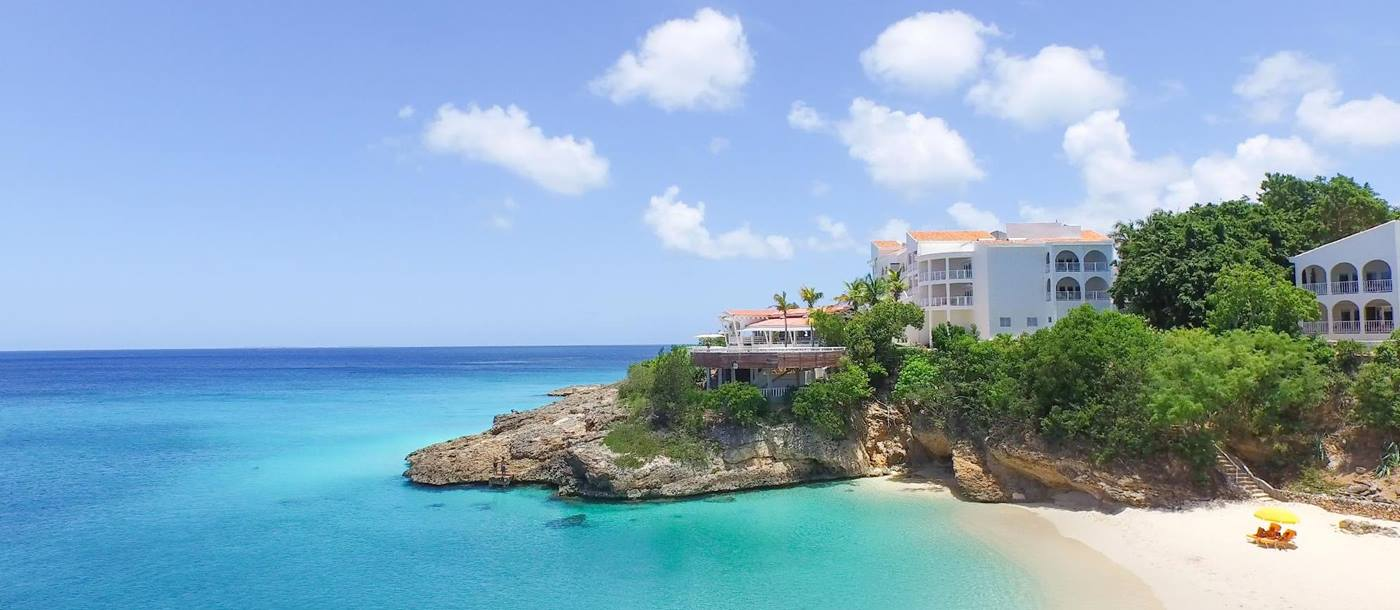 the beach, sea and facade of Malliouhana, Anguilla