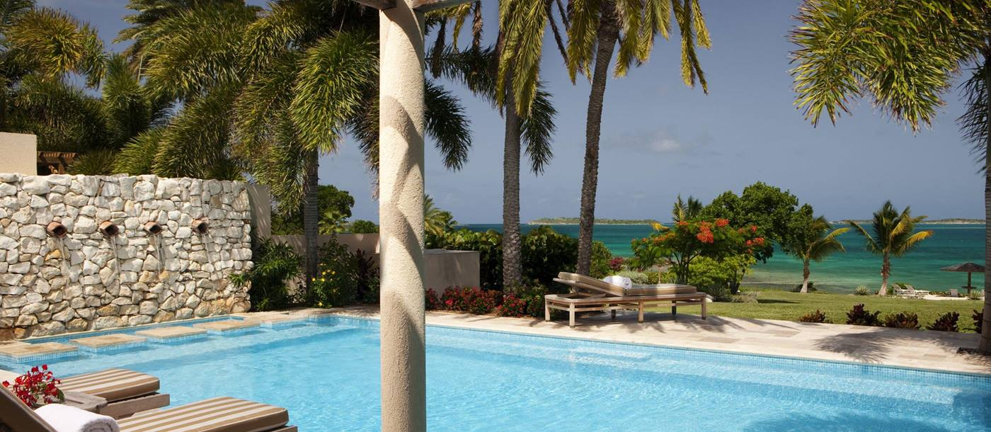 Pool area with sea view at Banyan Villa, Antigua