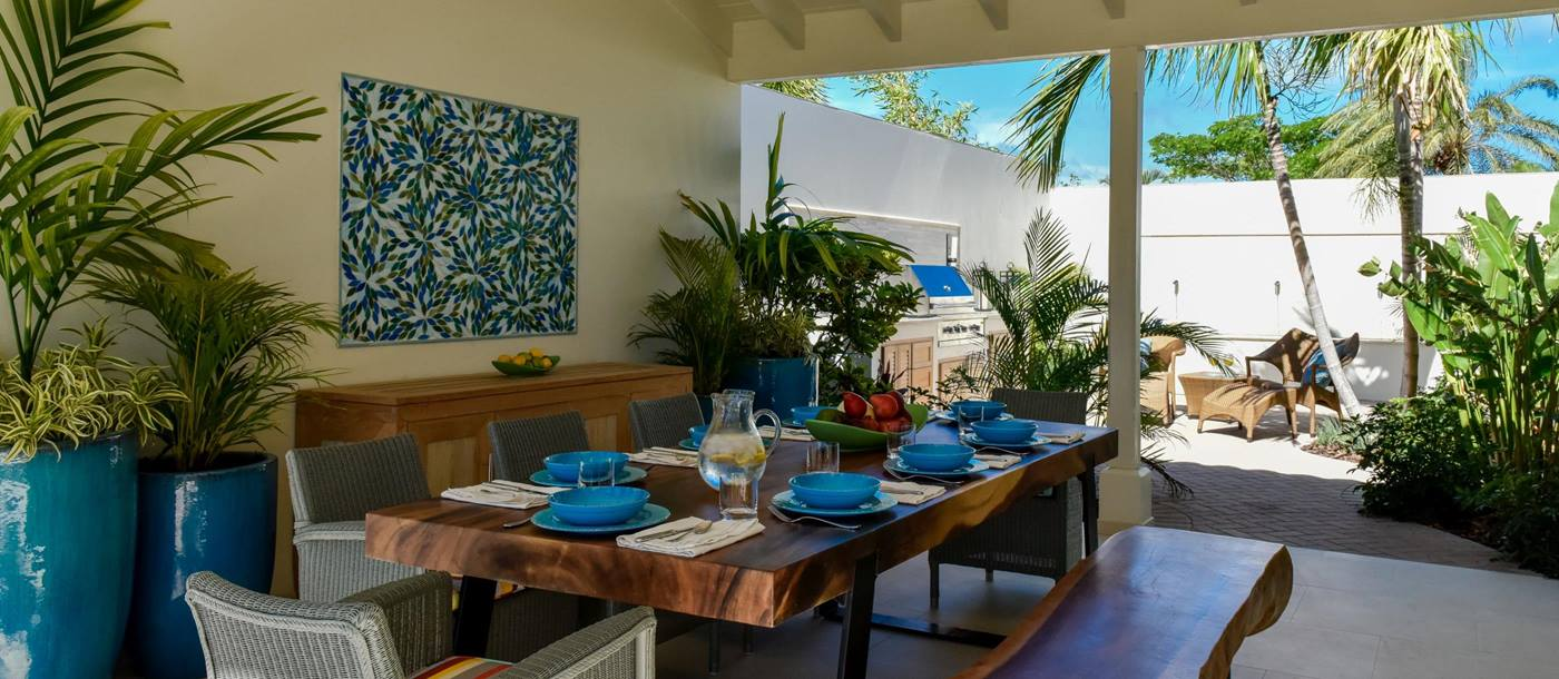 dining table at Evangeline, Antigua