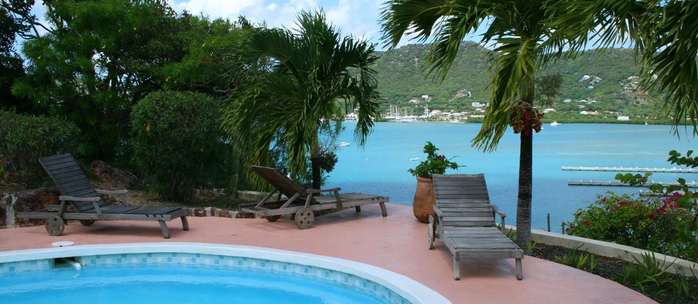 Swimming pool with sea view from Harbour Hill, Antigua