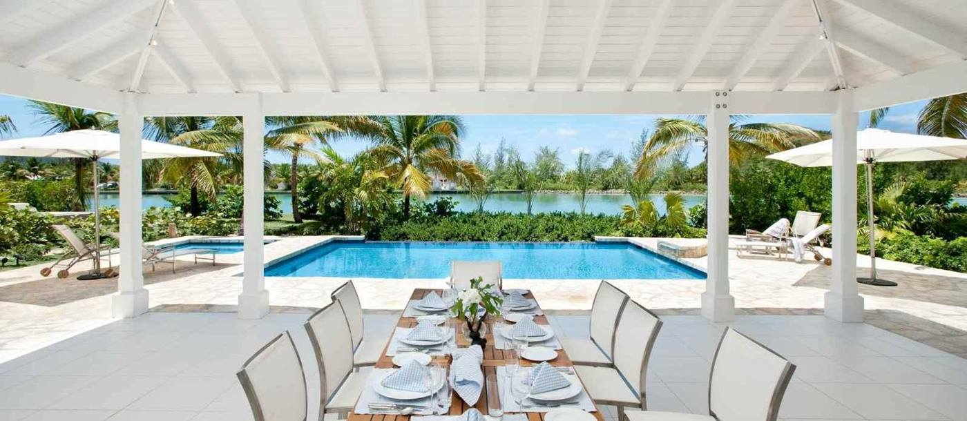 outdoor dining table at the swimming pool with ocean view at Palm Point, Antigua