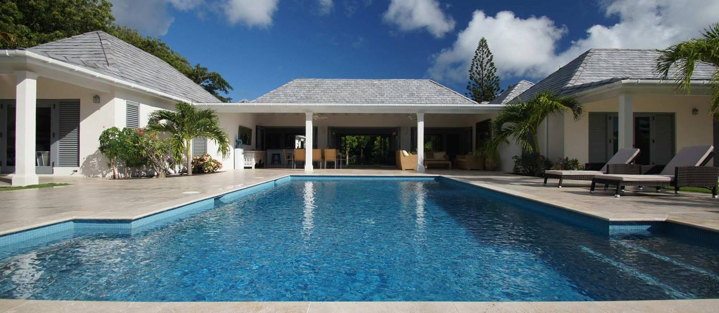 Swimming pool and facade of Hill Club, Antigua