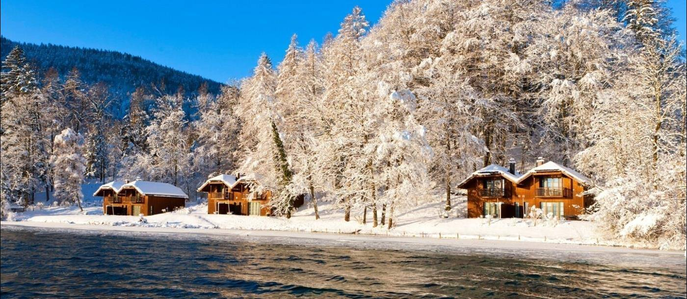 Lake in winter at Schloss Fuschl in Austria