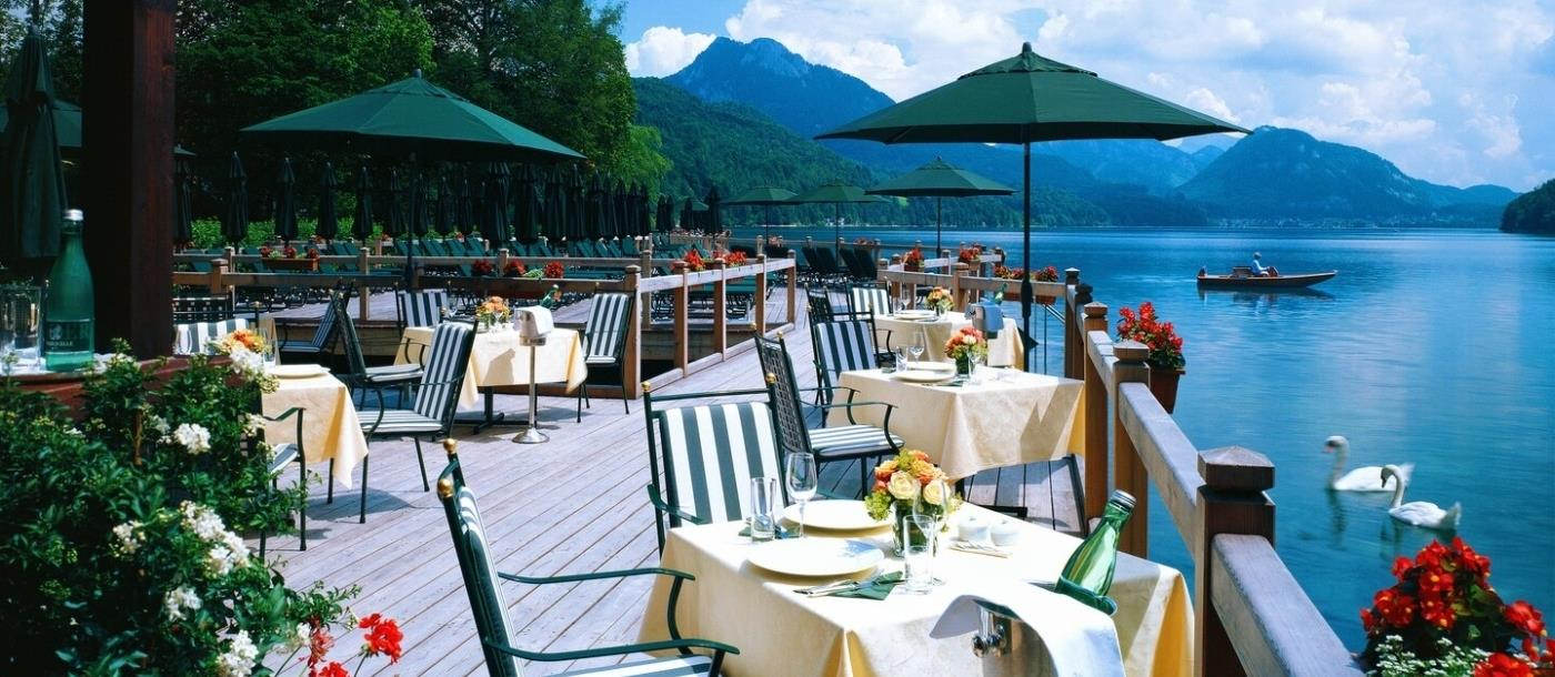 Lakeside restaurant at Schloss Fuschl in Austria