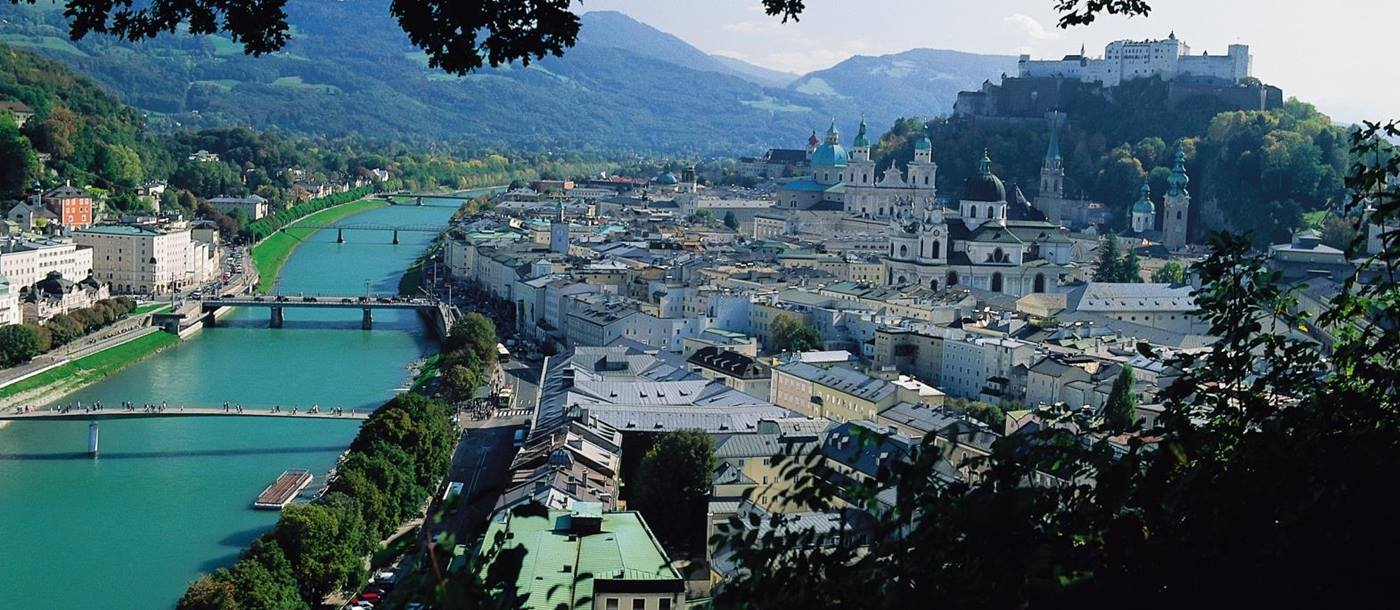 Landscape of Salzburg from hillside in Austria