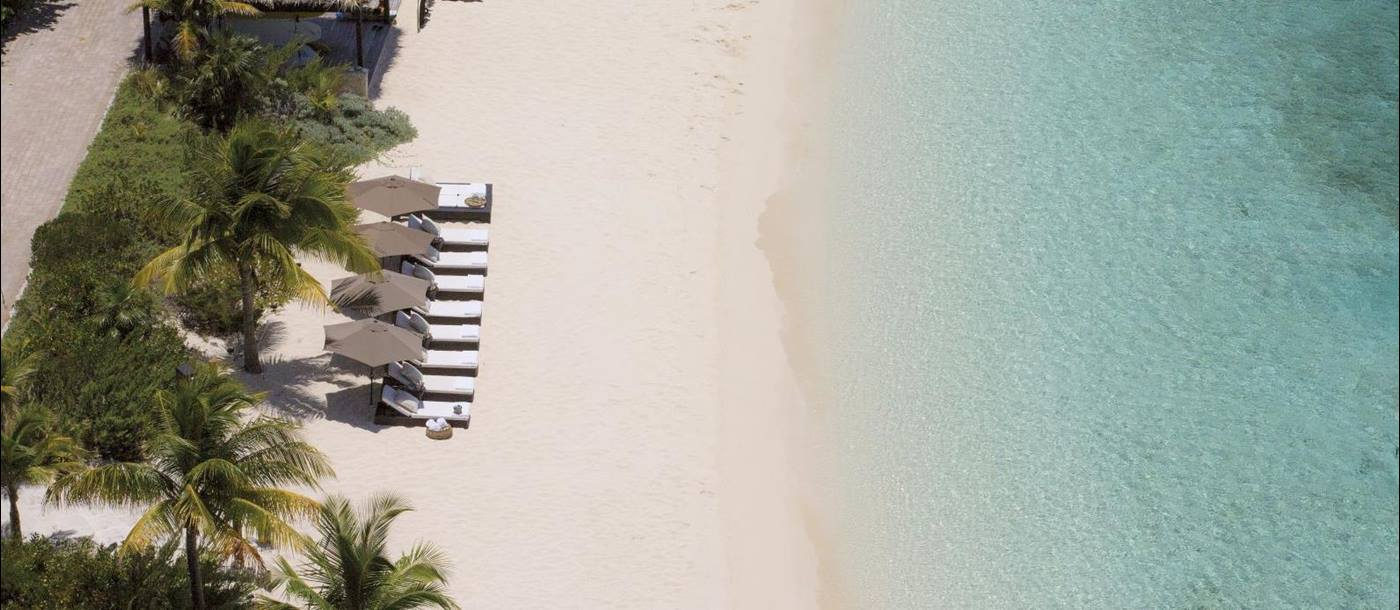 An aerial view of the beach at Over Yonder Cay