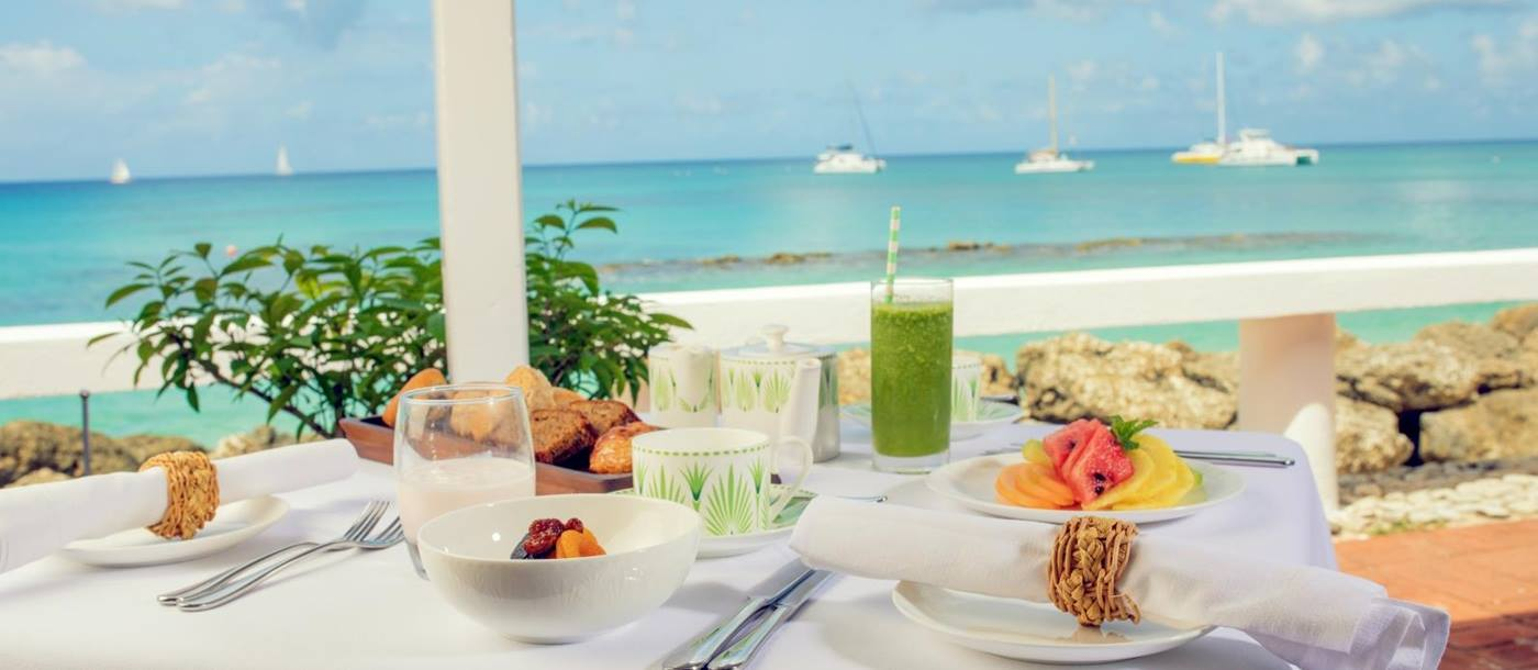 Breakfast table overlooking the ocean