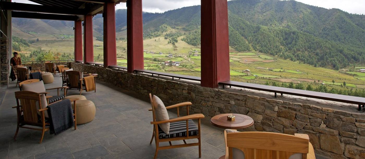 Seating area on the balcony overlooking the valley