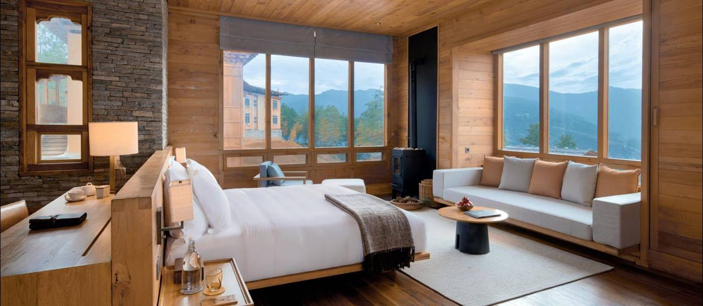 Main bedroom of the Lodge Suite with mountain views