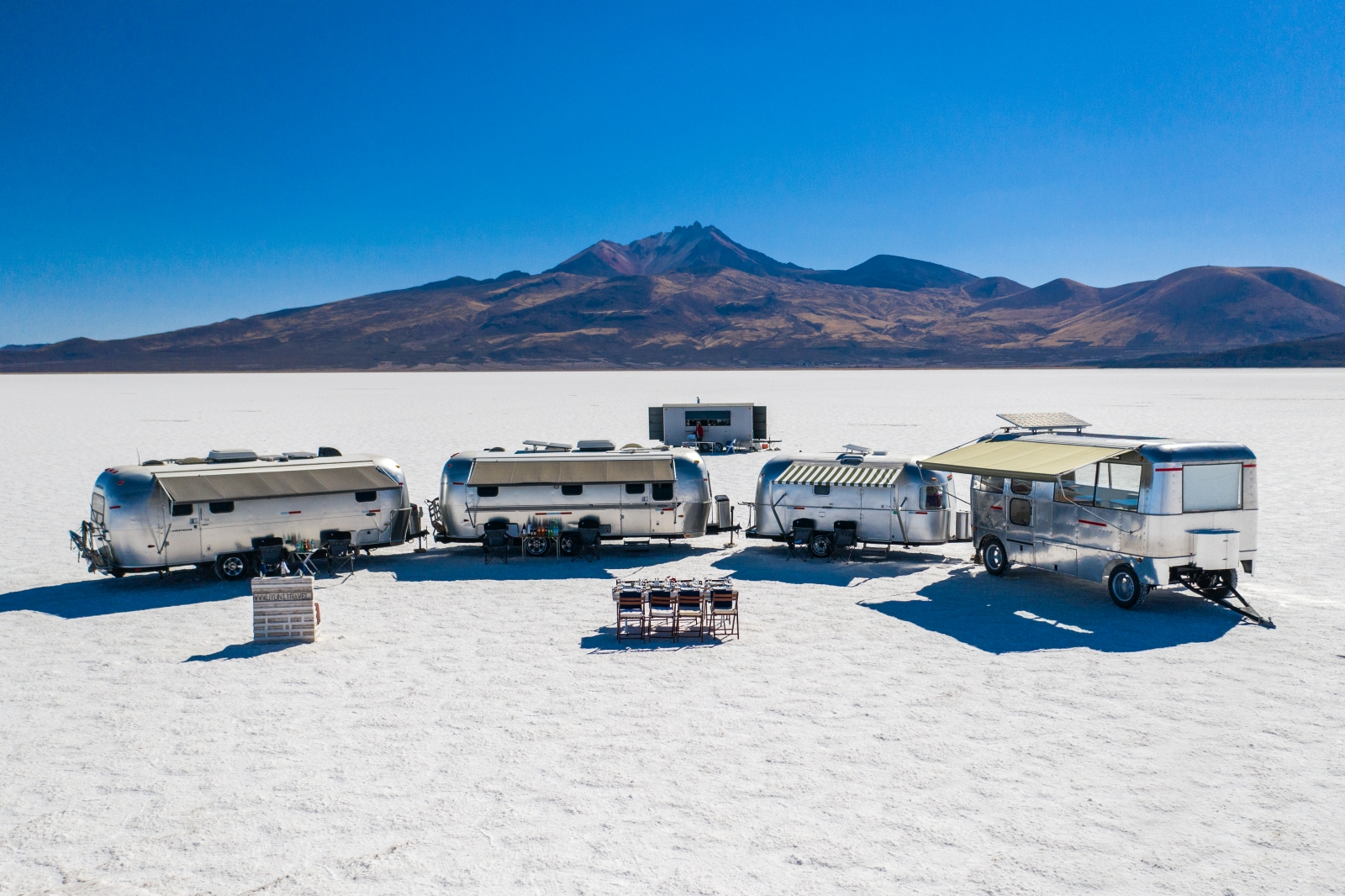 Full view of Deluxe Airstream Camper in Bolivia Salt Flats