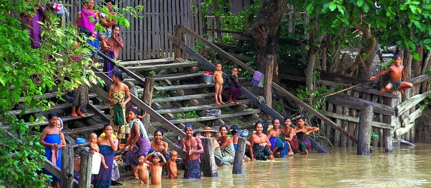 Bathing in the Chindwin River in Myanmar