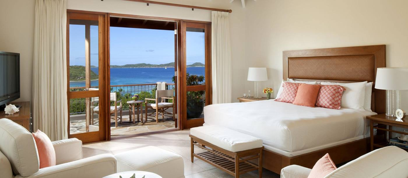 Master bedroom at Rosewood Little Dix Bay, British Virgin Islands
