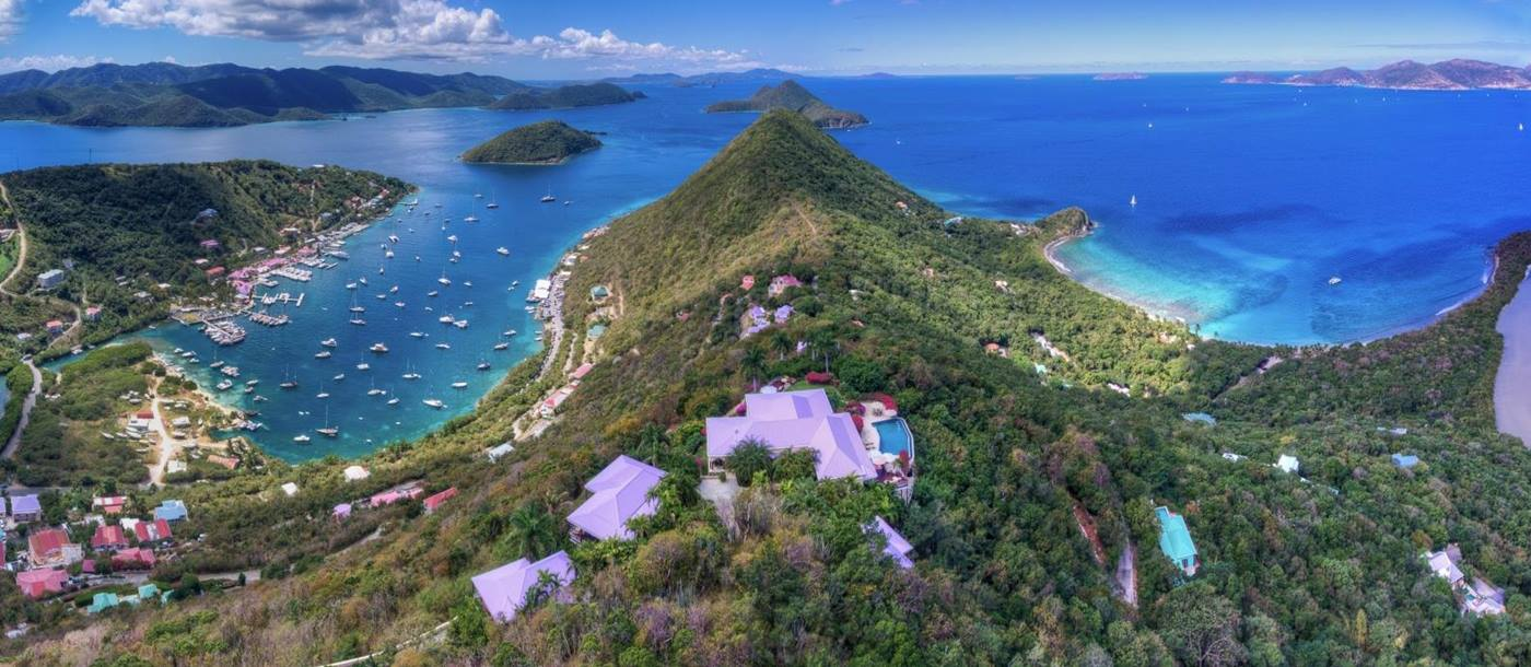 Aerial view of the peninsula on which sits ST Bernard's Hill House, luxury villa in the British Virgin Islands