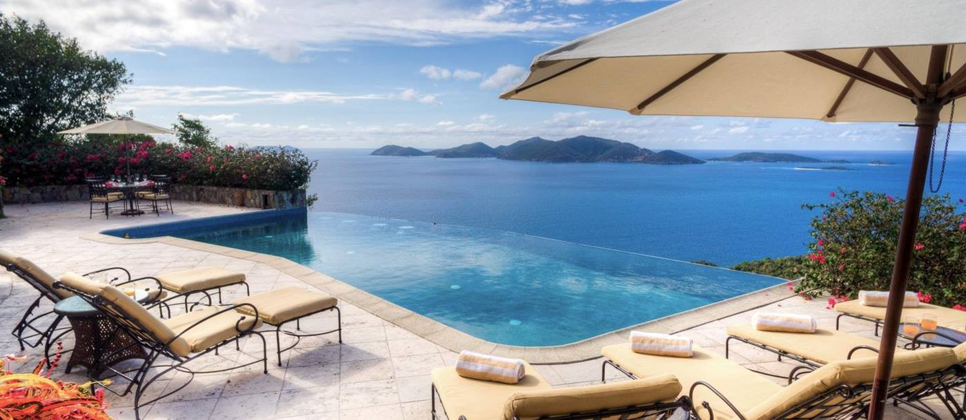 Pool view of the Caribbean Sea at luxury villa St Bernard's Hill House