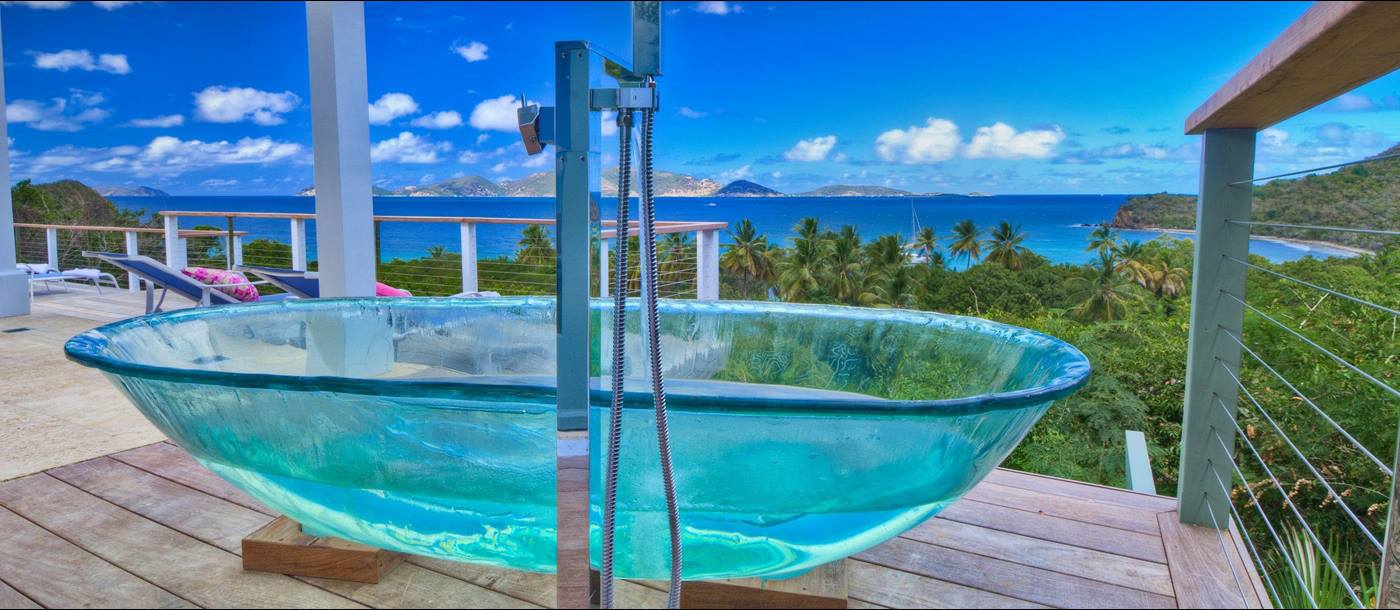 Glass bathtub on the terrrace of Villa Maya, British Virgin Islands