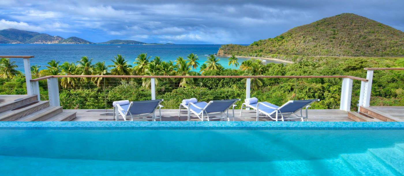 swiiming pool and view from Villa Maya, British Virgin Islands