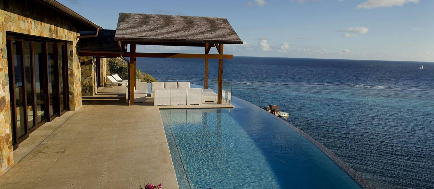 Swimming pool and ocean near Water's Edge Villa, British Virgin Islands