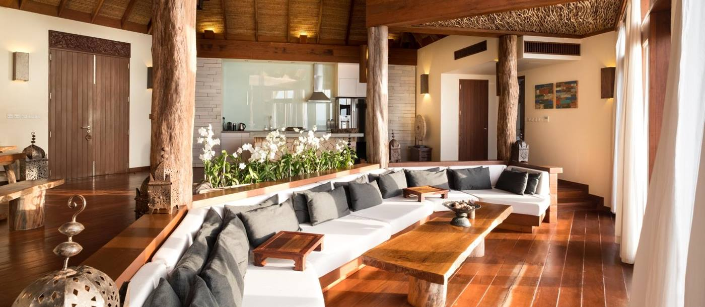 Over-water Villa living area with seating at Song Saa