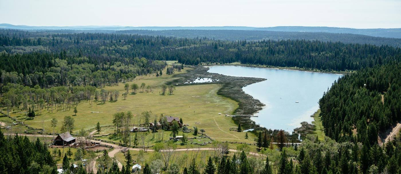 Aerial of Siwash Lake Wilderness Resort, Canada