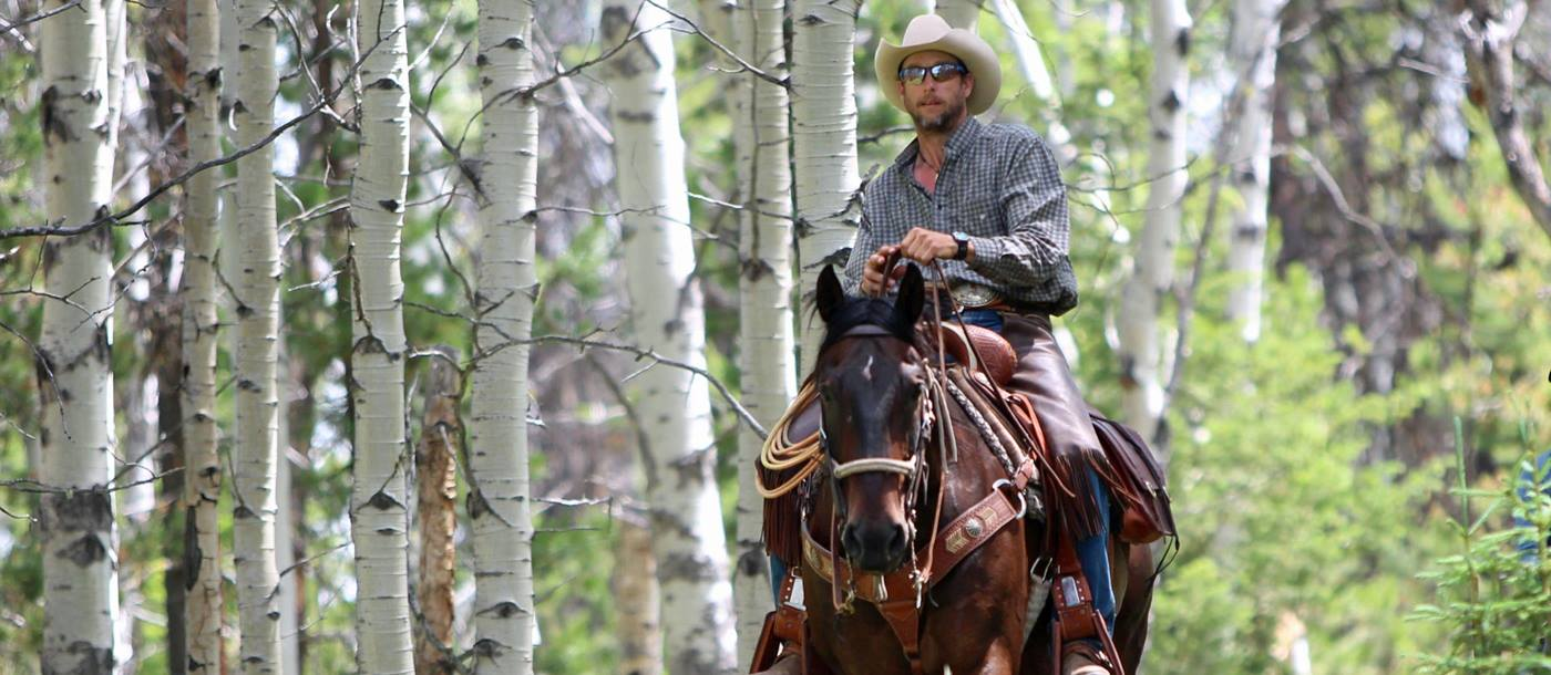 Cowboy with horse near Siwash Lake Wilderness Resort, Canada