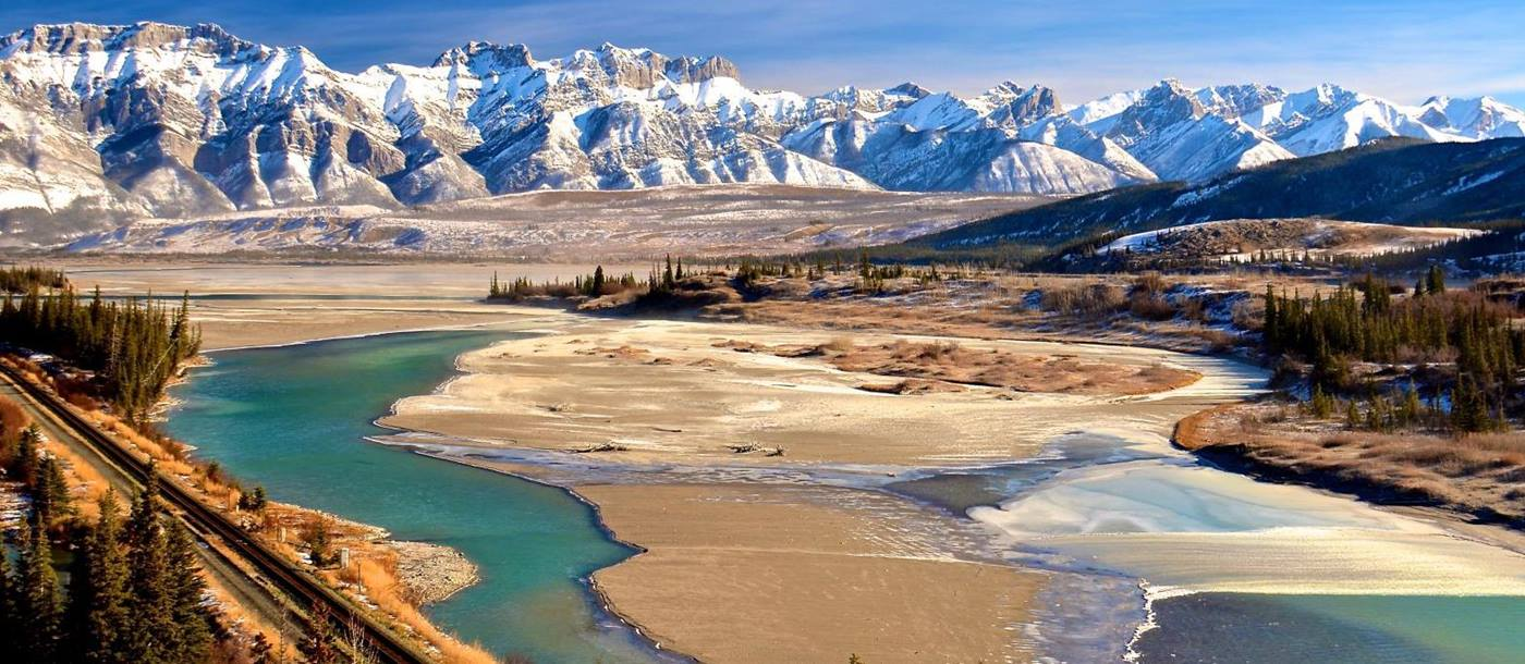 Aerial view of Athabasca River and Miette range in Jasper Canada