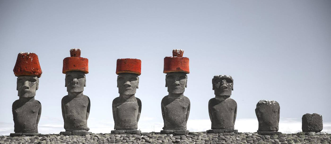 Moai in a row on Easter Island, Chile