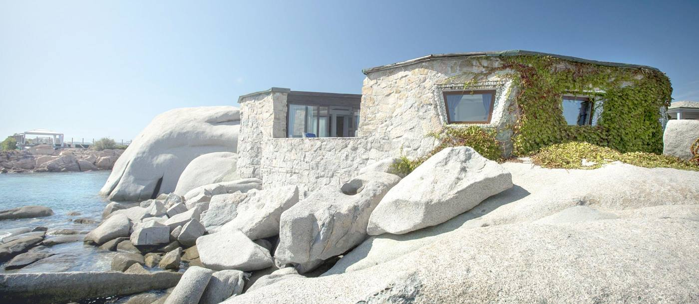 white rocks on the exterior of Hotel  & Spa des Pecheurs, Corsica, France