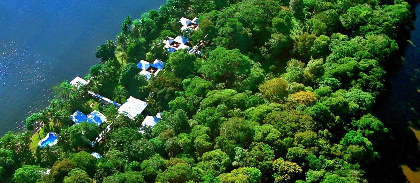Aerial view of Manatus Lodge in Costa Rica