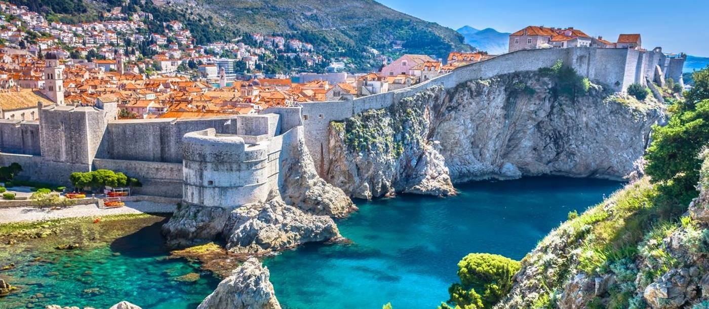 View of Dubrovnik harbour and old town in Croatia