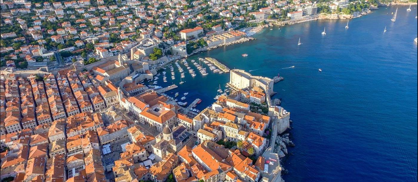 Aerial view of Dubrovnik old town and harbour in Croatia