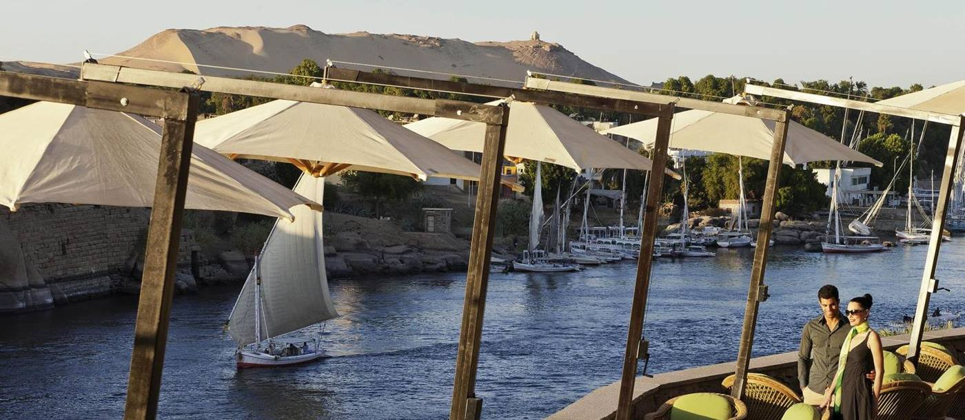 Terrace and Nile view at Sofitel Legend Old Cataract Aswan