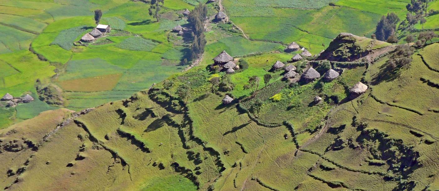 Village below the Simien Mountains