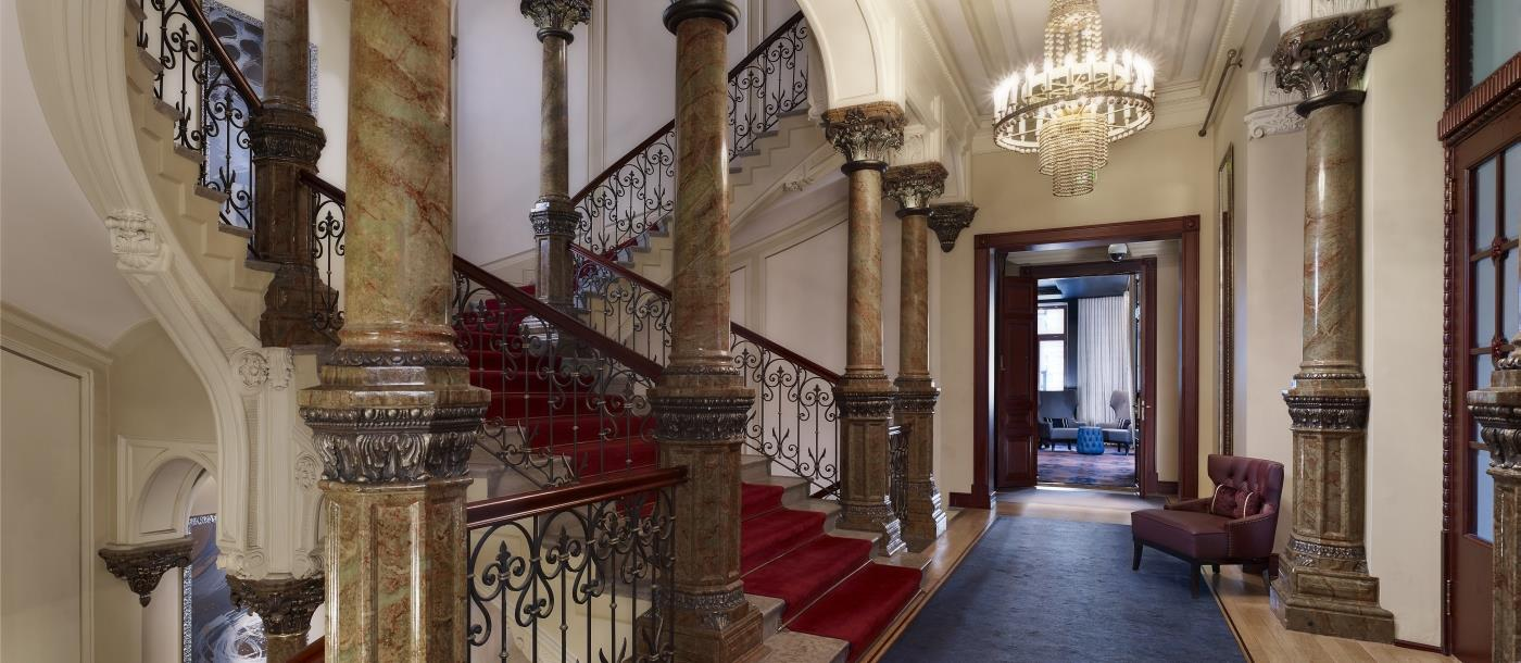 Staircase view of Hotel Kamp in Helsinki Finland