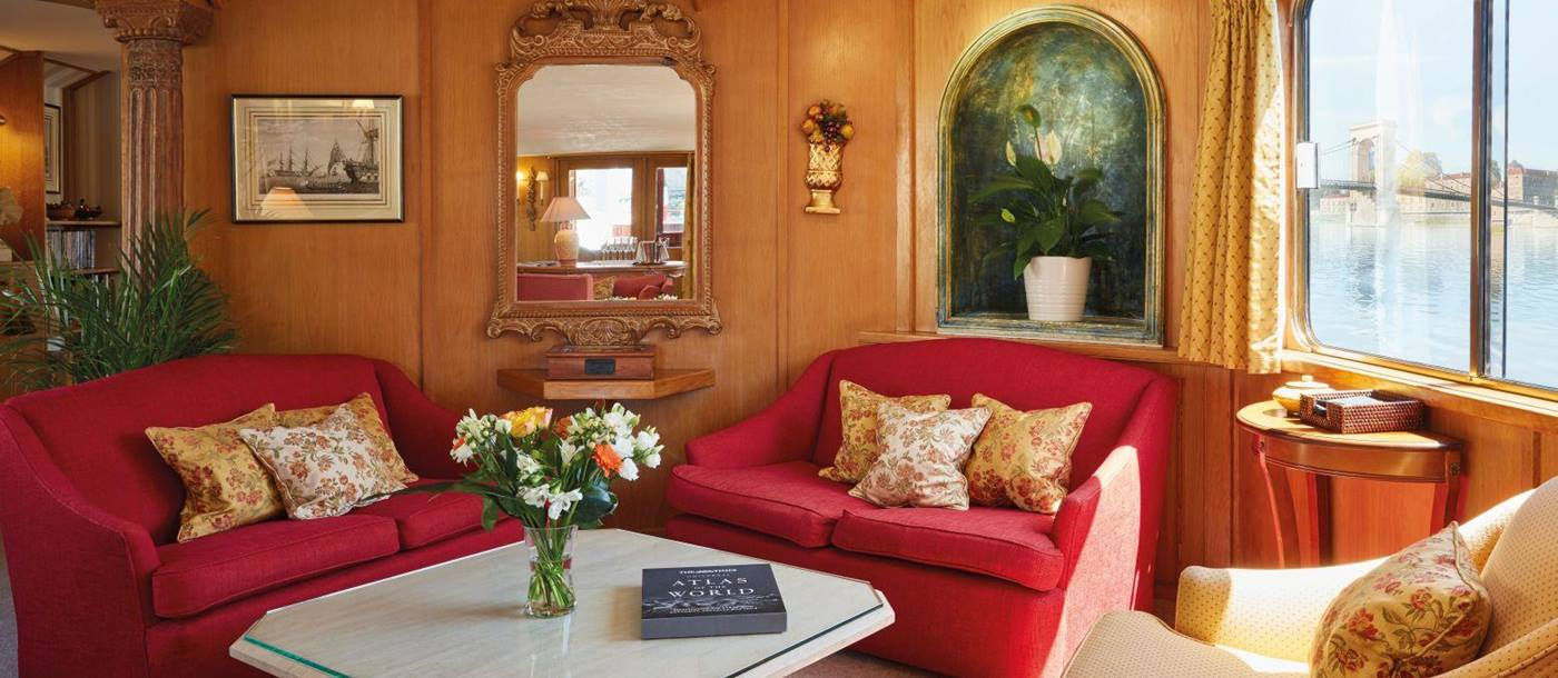 Living area on board the Belmond Napoleon river barge in France