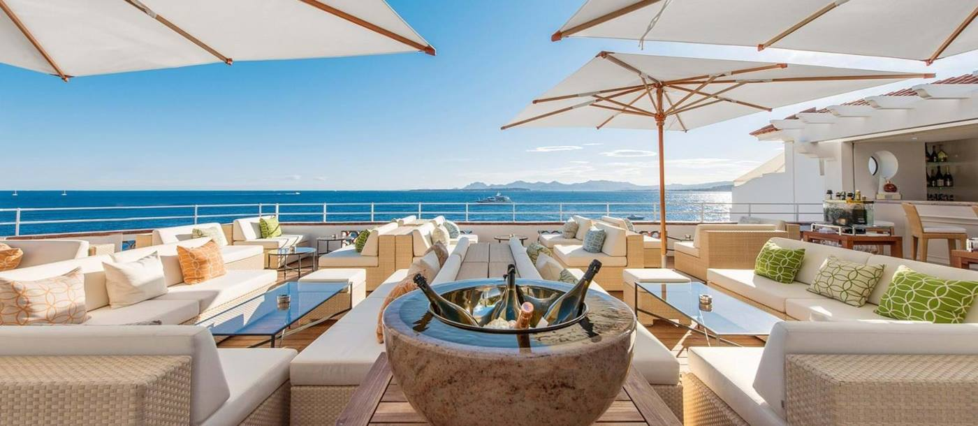 Terrace bar with views at Hotel du Cap-Eden-Roc in France