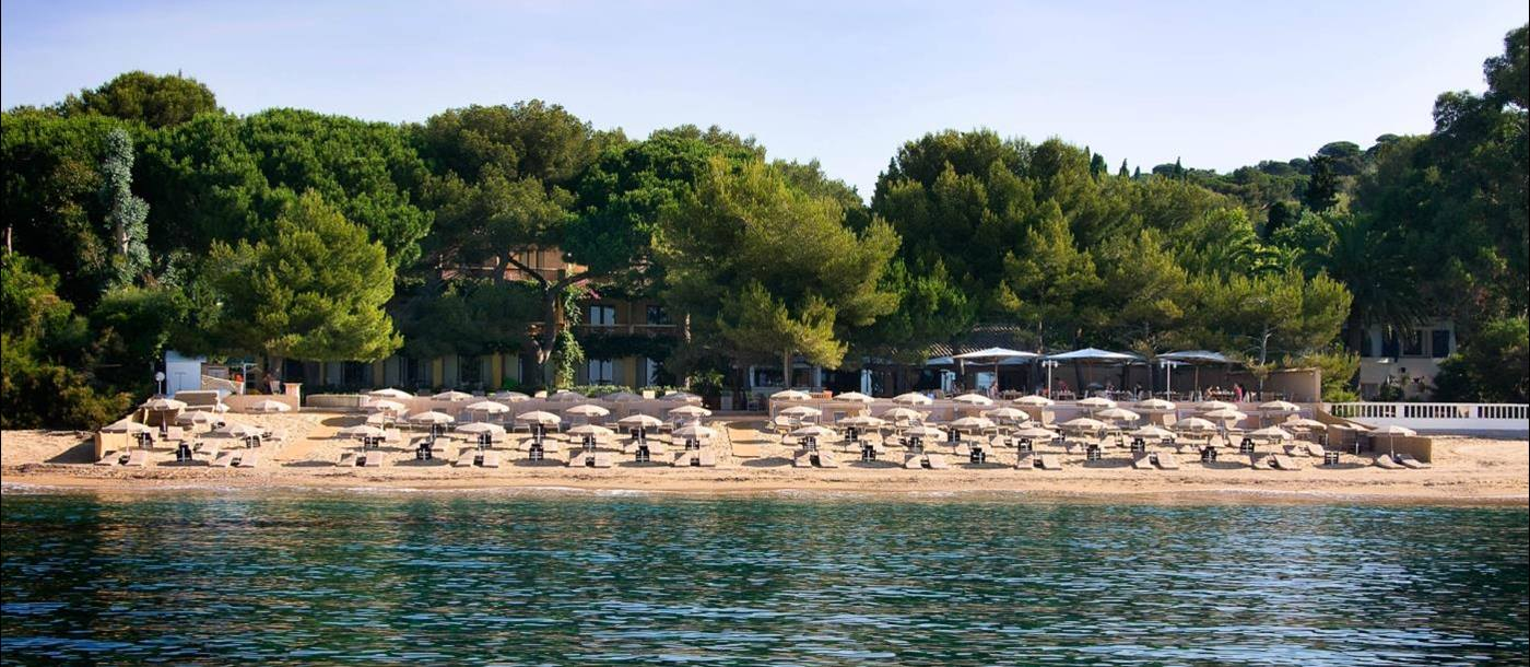 Beach at Hotel La Pinede Plage in France