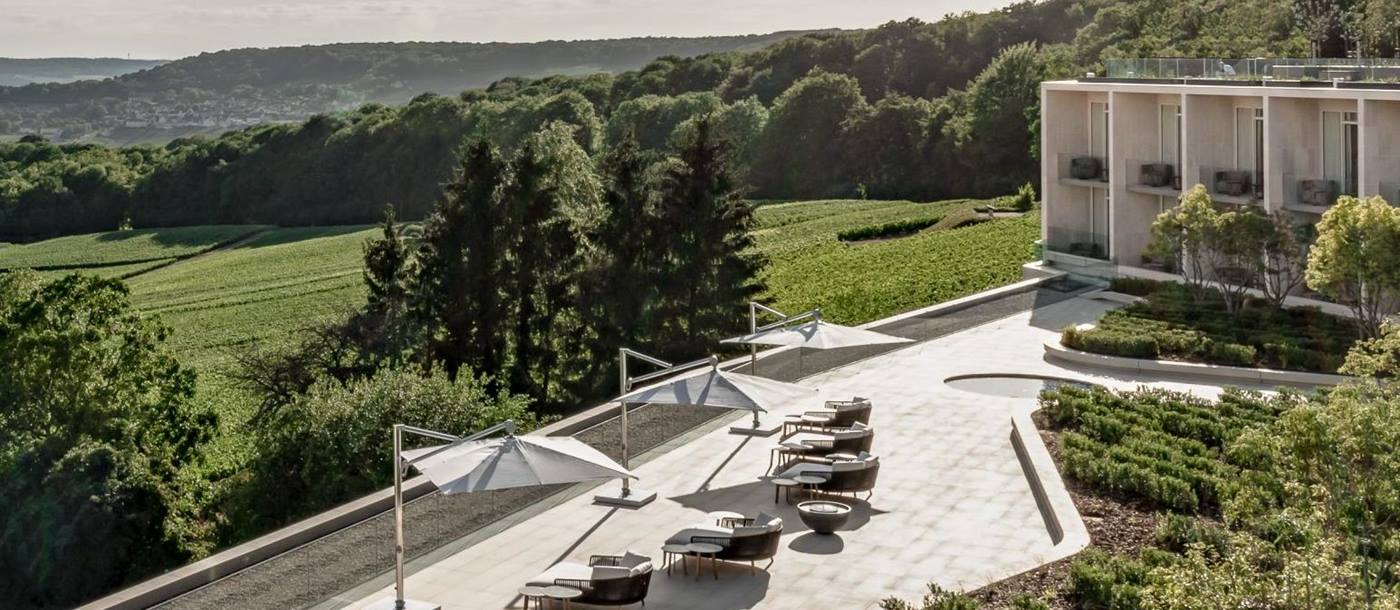 Terrace and grounds of the Royal Champagne Hotel and Spa in France