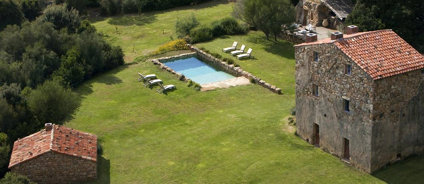 Aerial of exterior and swimming pool of A Figa, Corsica