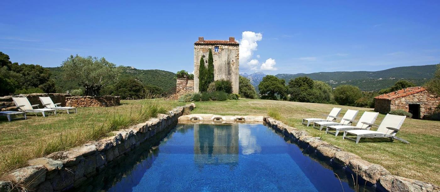 Pool and facade of A Figa, Corsica