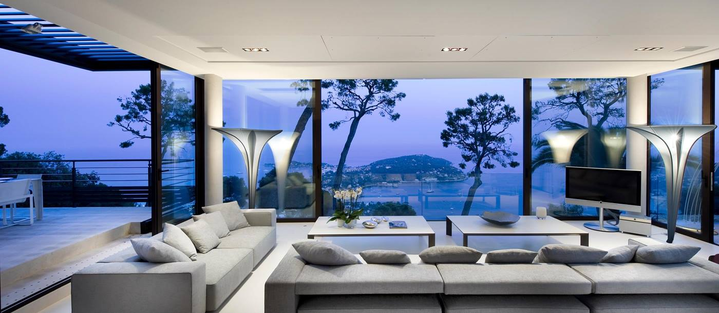 Seating area with view from Villa Bayview, Cote dAzur