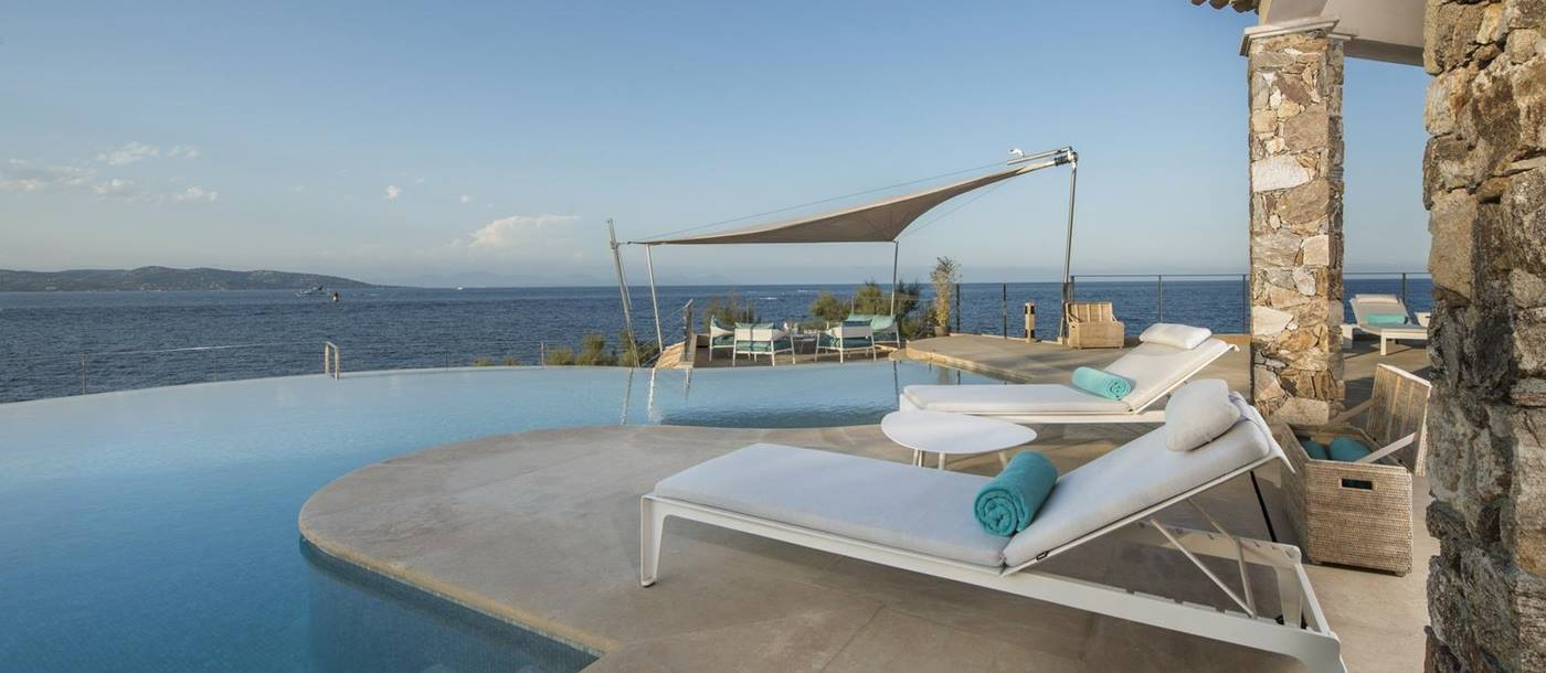 View from the swimming pool of Villa des Voiles, Cote d'Azur