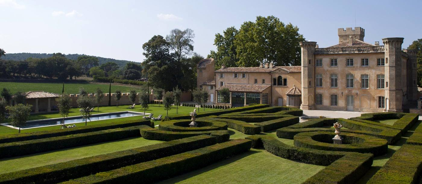 facade and garden of Chateau Bel Esprit, Provence