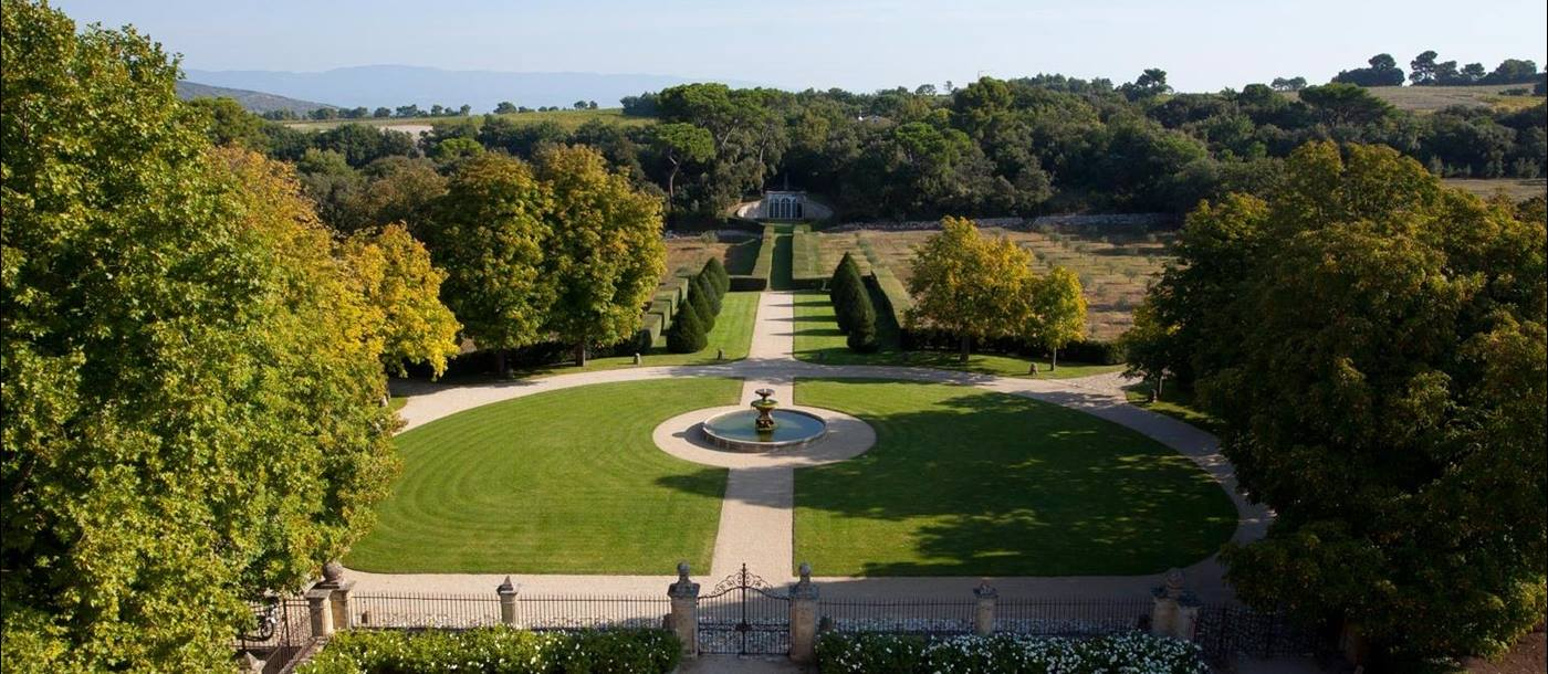 View of gardens and surrounding countryside at Chateau Bel Esprit in Provence, France