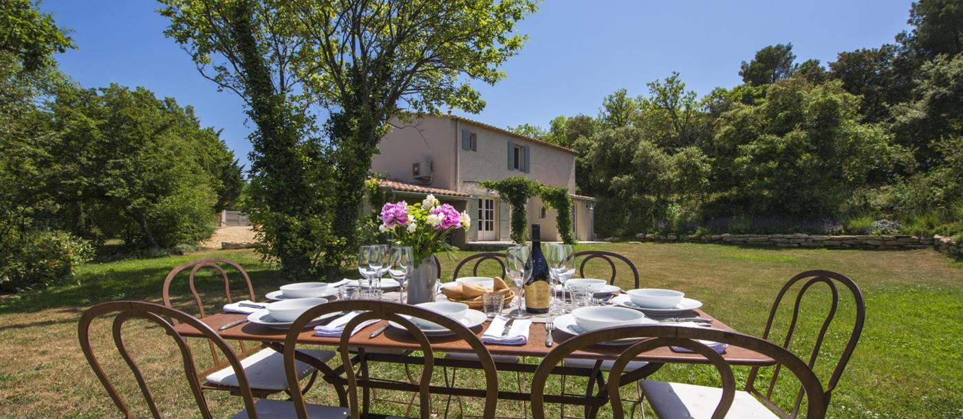 Outdoor dining at Mas du Buis, Provence