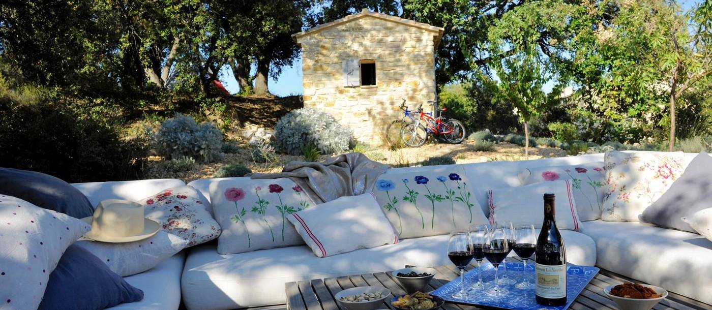 Outdoor lounge of Mas Ventoux, Provence