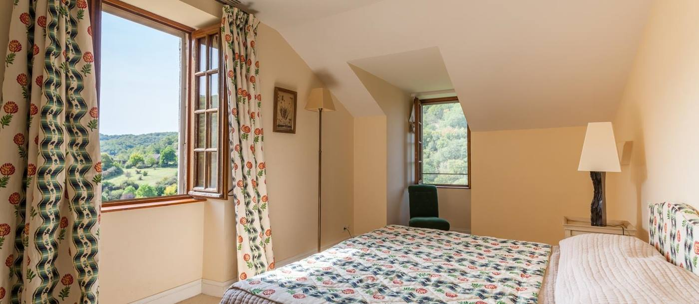 green double bedroom in Chateau Falaise, South West France