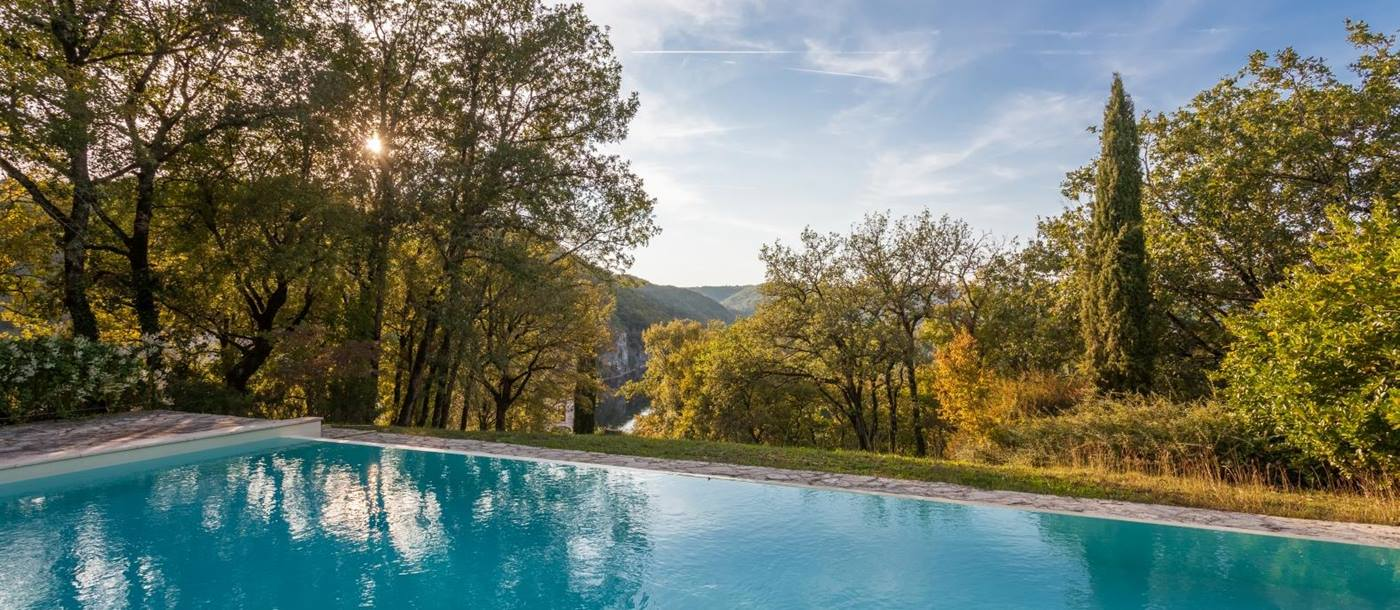 the swimming pool of Chateau Falaise, South West France
