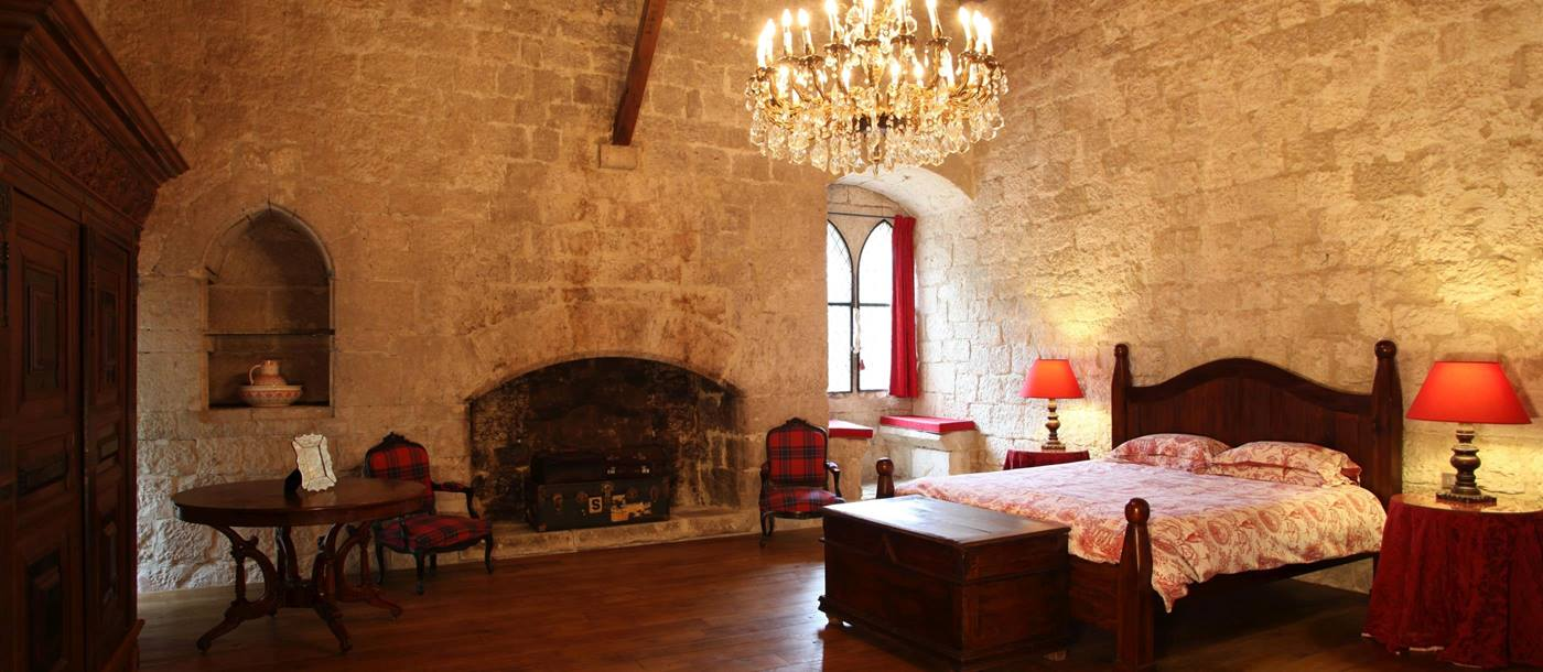 Master bedroom in Chateau Lenvege, South West France