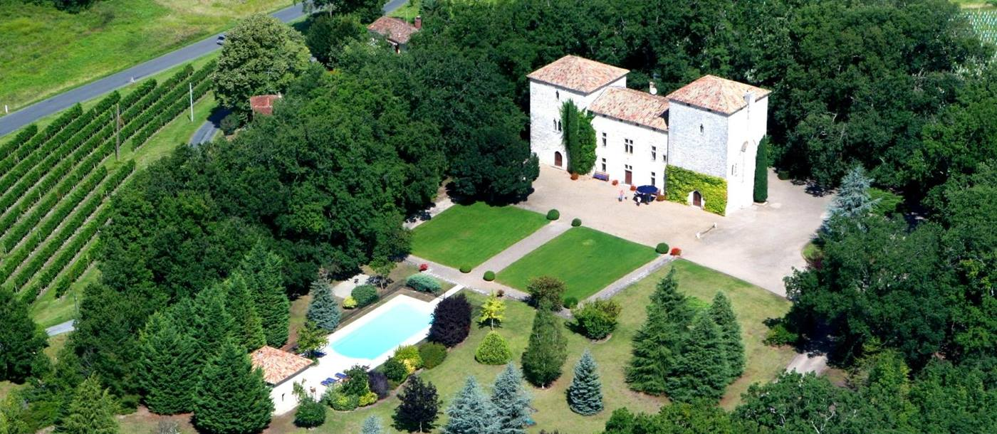 Aerial view of Chateau Lenvege, South West France