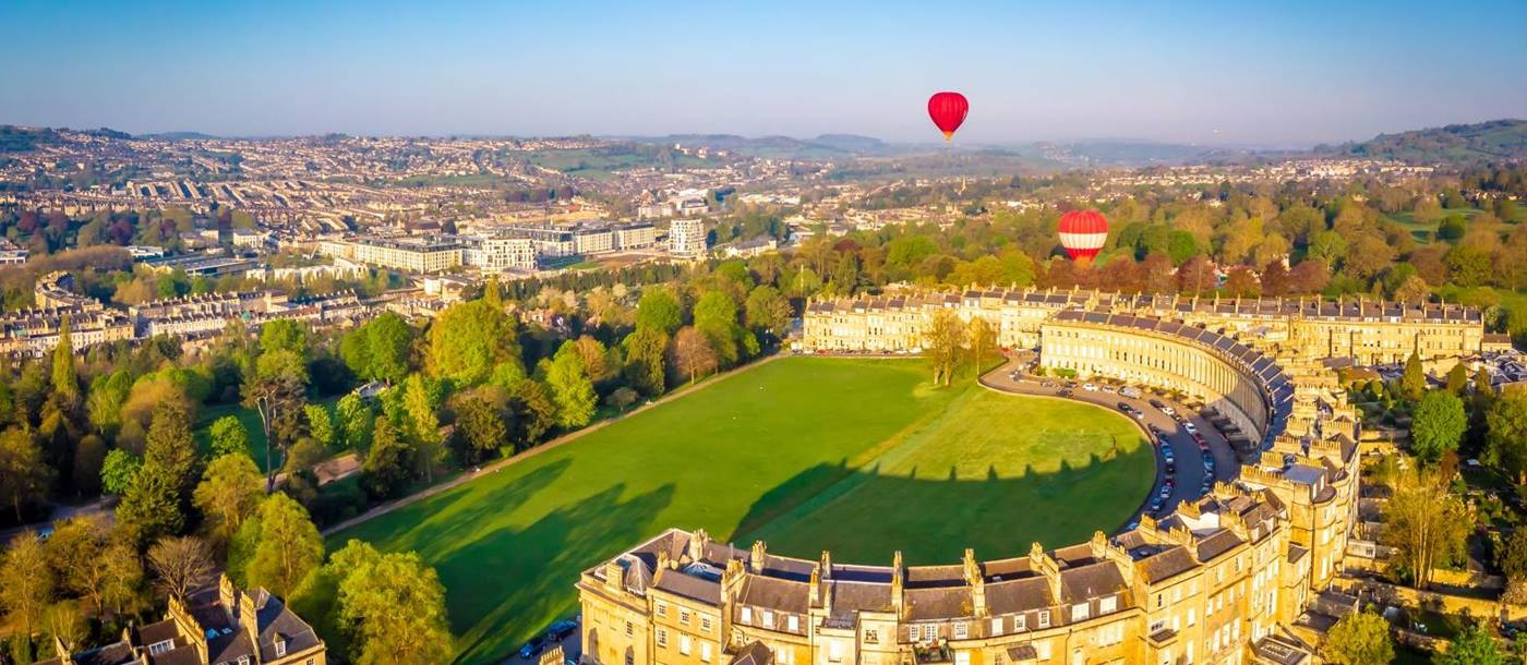 Aerial view of the the Royal Crescent Hotel in Bath and surrounds